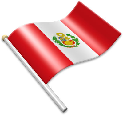 The Peruvian flag on a flagpole clipart image
