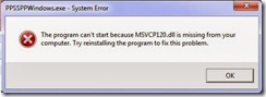 MSVCP120.dll is missing