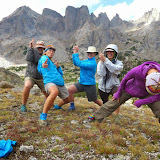 Shelli, goofing off with friends during an epic training hike to the Cirque of Towers in Wyoming's Wind River Range.
