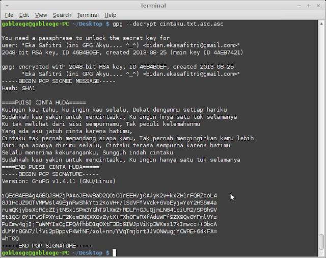 Hasil Decrypt file cintaku.txt.asc.asc