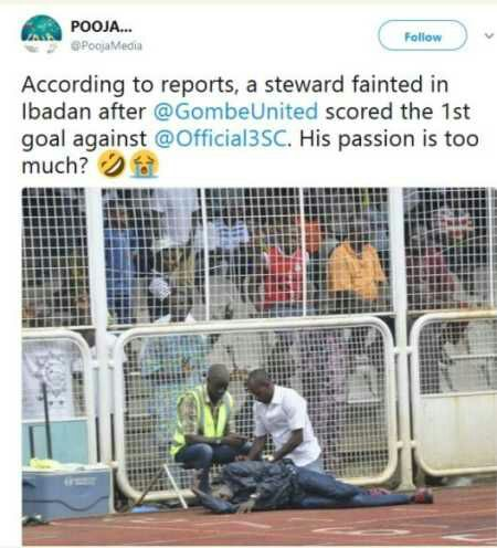 Football fan Faints in Ibadan After 3SC Goal Concede (Photos)