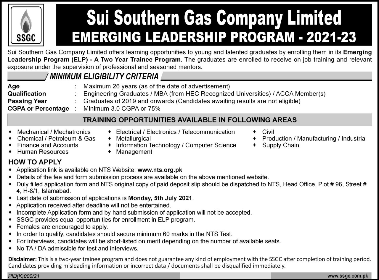 Sui Southern Gas Company New Jobs SSGC Jobs 2021 New Advertisement