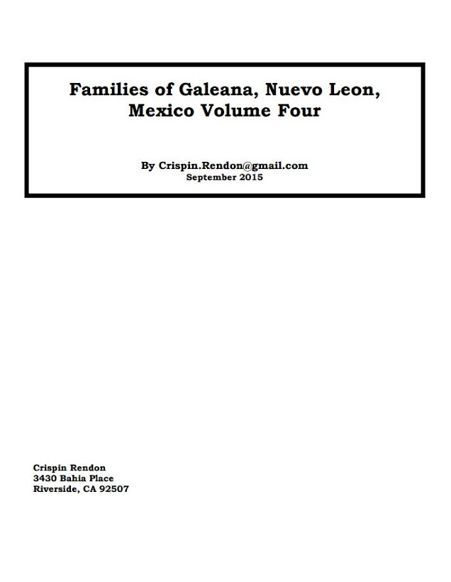 Families of Galeana Nuevo Leon Volume Four