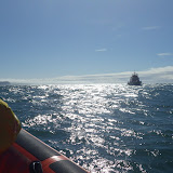 Yarmouth Severn class lifeboat heading towards Poole ILB in Poole Bay on 11 May 2013. Photo: RNLI/Poole Alex Evans