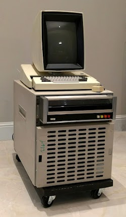 The Xerox Alto's disk drive is the unit below the keyboard. The cabinet under the drive holds the computer itself.