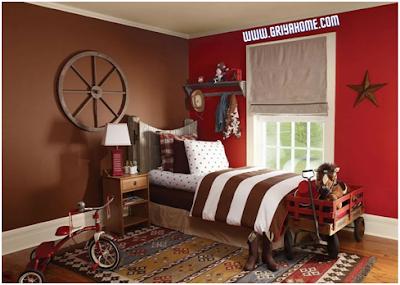 kamar anak warna coklat