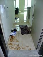 Olycka i lägenheten, eller snarare i någon annan lägenhet som bestämde sig för att besöka mig. Fråga mig inte vad allt som flyter runt är för nått...