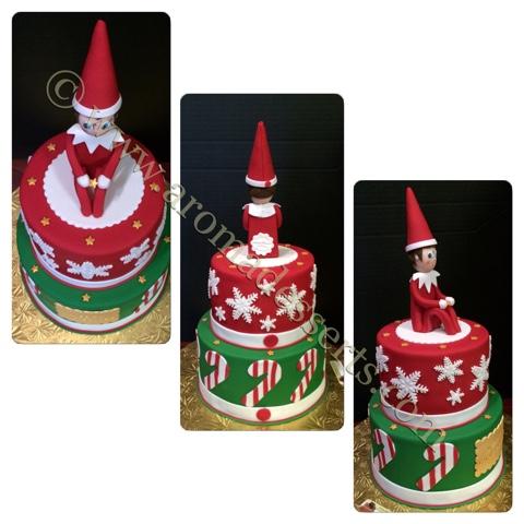 Aroma Desserts And More Elf On A Shelf Christmas Cake