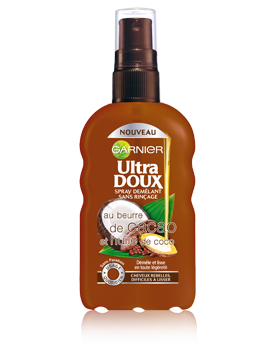 Garnier UltraDoux, beurre de cacao, huile de coco, spray, cabello, peinado