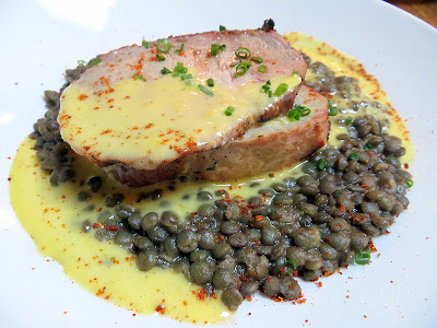 Fratelli restaurant, simple Italian, Pearl district, rustic Italian, Portland, smoky rich Smoked Mt. Shadow pork loin with French green lentils, preserved lemon