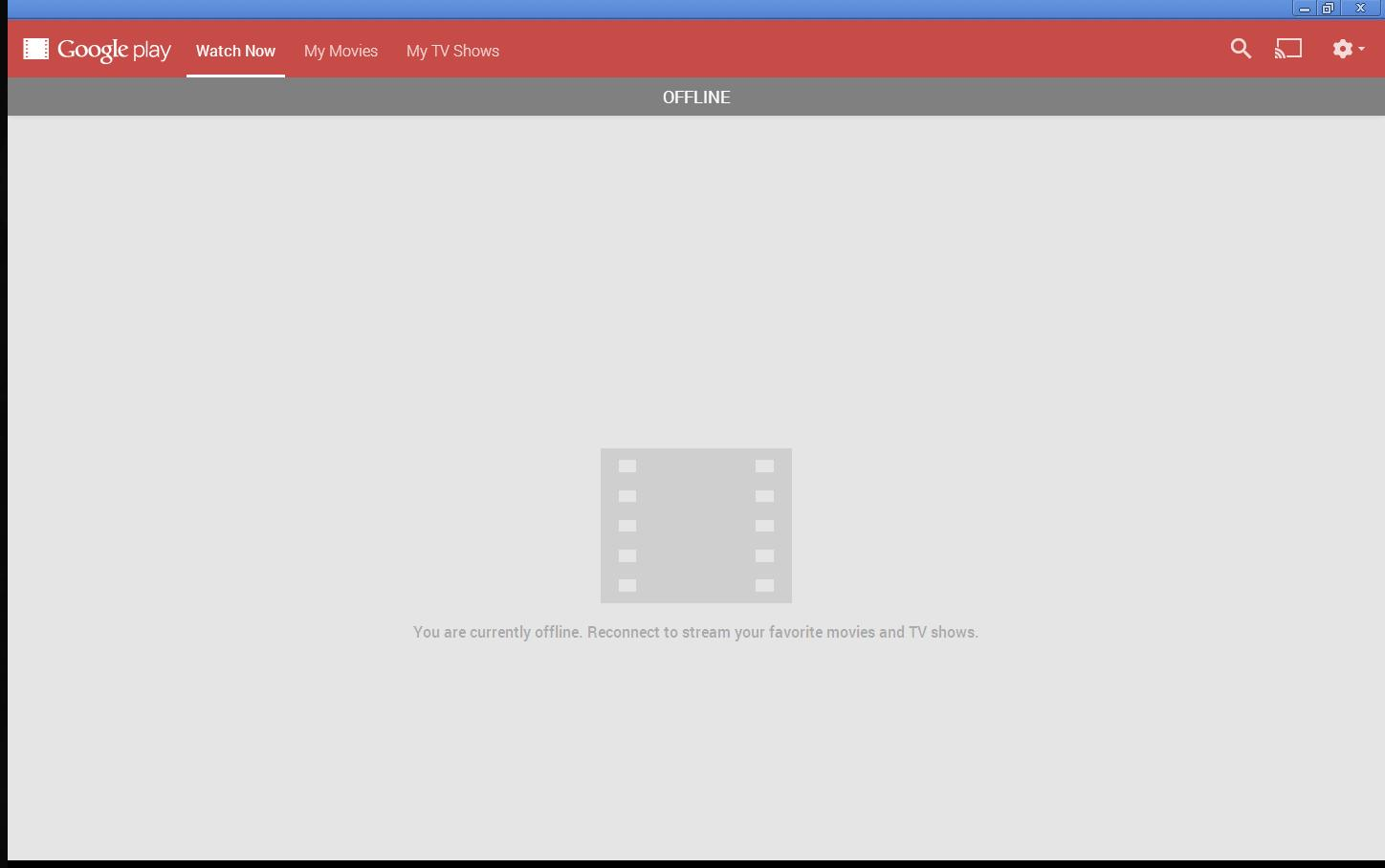 Stuck in offline mode when logging into Play Movies