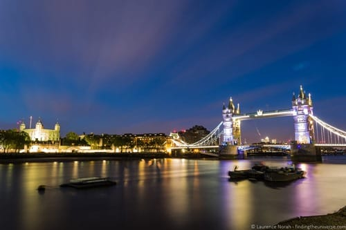 Tower Bridge and the Tower of London at night