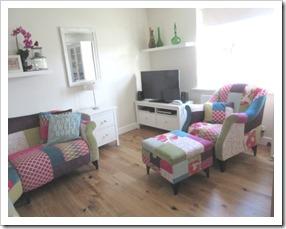 DFS shout armchair patchwork