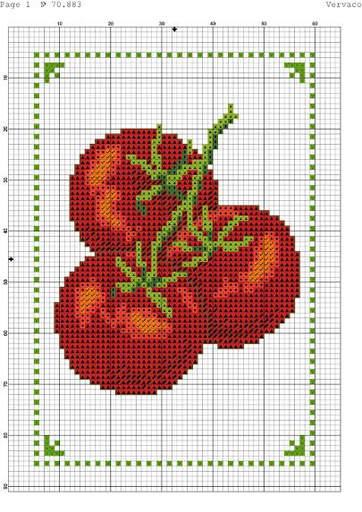 Motivi per punto croce a tema pomodoro