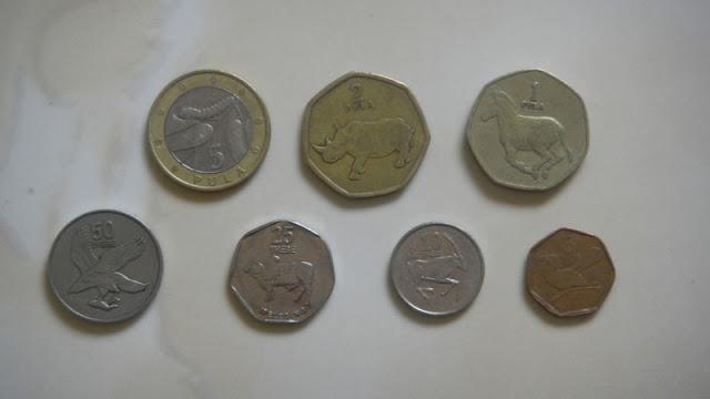 Botswana coins.  On top  P5, P2, P1