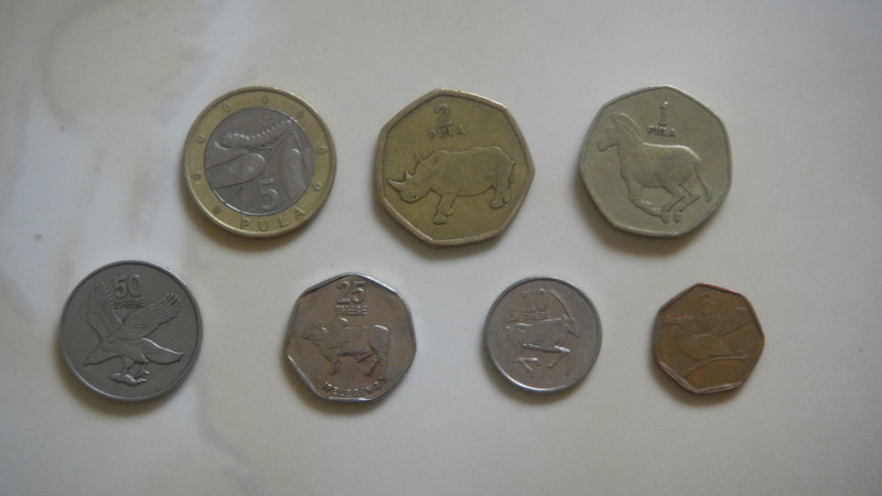 Botswana coins.  On top  P5, P2, P1