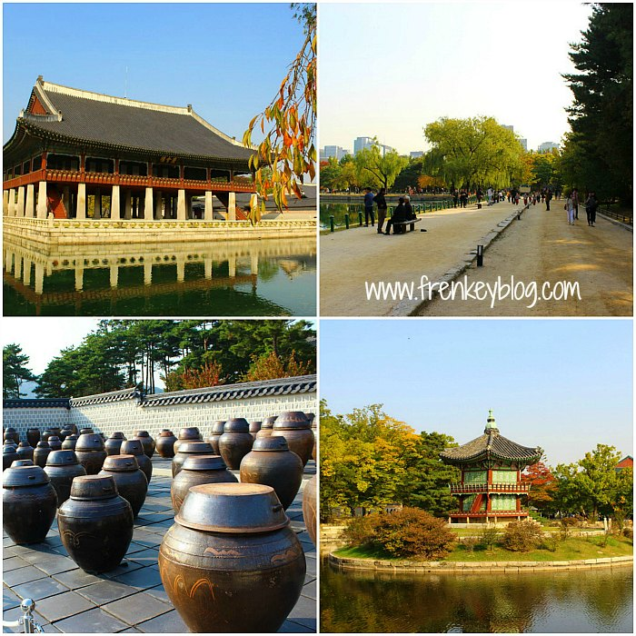 Suasana di dalam area Gyeongbokgung Palace dan Guci tempat Fermentasi Kimchi