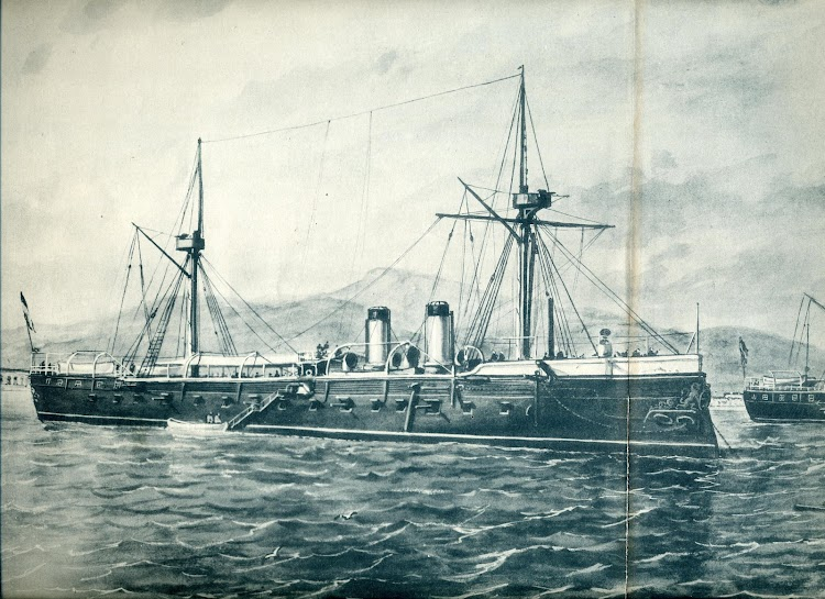 Parcial de un cuadro de R.Monleón. fototipia de F. Laurent y Cia. representando las fragatas acorazadas VITORIA y NUMANCIA. El Mundo Naval Ilustrado Año II. Num 24. 15 de Abril de 1898.JPG