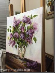 lilacs easel side
