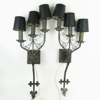 Medieval Style Wrought Metal Three-Arm Sconce Pair