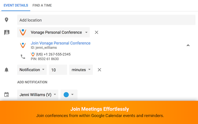 Vonage Conference for Google Calendar - G Suite Marketplace