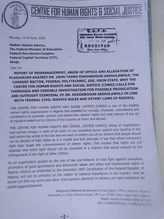 Fraud: Presidency, Education Minister, Anti-graft Bodies Receive Petition To Investigate Edepoly Rector, Adekolawole ~Omonaijablog