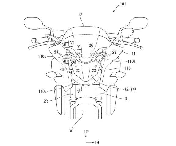 """We have seen innovations in motorcycle safety from many manufacturers today. One of them is Honda's Pinion, which has filed a patent on a new safety system. many on the motorcycle and the latest patent from the camp That is an approach that may not be new. But it seems to be an interesting solution and does not result in the bike's form losing its aesthetics in the slightest.  Radar sensors on the Ducati Multistrada V4S Over the past few years we have seen many two-wheeler manufacturers devoting themselves to the development of radar safety systems. Leaders such as Ducati have partnered with Bosch to install anti-collision radar on the Multistrada V4S and continue to the BMW R1250RT, R18B, R18 Transcontinental. Or will it be from KTM, who recently installed a radar system on its 1290 Adventure S, and Kawasaki is going to install it on the H2 SX for the 2022 model year that is coming later this year? but all this It has one thing in common, the """"surplus"""" from the fairing, with both the camera and radar dots mounted on the front and rear. Moreover, this technology is complex and the value is quite high. It seems that Honda has found a solution to this problem. The manufacturer, Honda, has a patent on the use of radar sensors as well. with the manufacturers mentioned above. But the approach is quite a bit different because Honda itself focuses mainly on beauty. By hiding all the sensors in the body of the bike. It does not emerge to be a focus outside the bike in any way. Moreover, the latest patent of Wing Nok Camp also offers a solution to the problem. By using Hidden Camera Tech or a camera hidden in the headlights of the bike to help fix the issue of beauty and the value of safety technology  The principle of the Hidden Camera Tech system works similarly to Subaru's system used on four-wheeled vehicles. It will install a dual camera in the front of the bike. to measure the distance from the object in front According to the patent, Honda suggests that it could use a"""