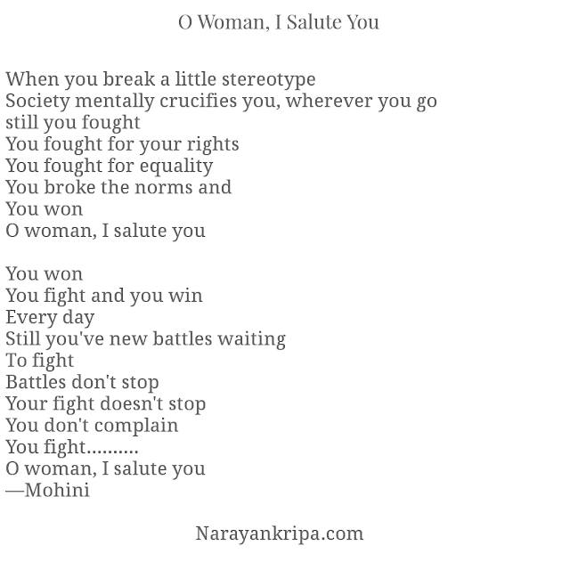 Text Image for Poem: O Woman, I Salute You
