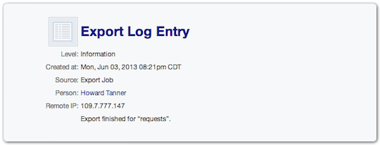 Export log entry