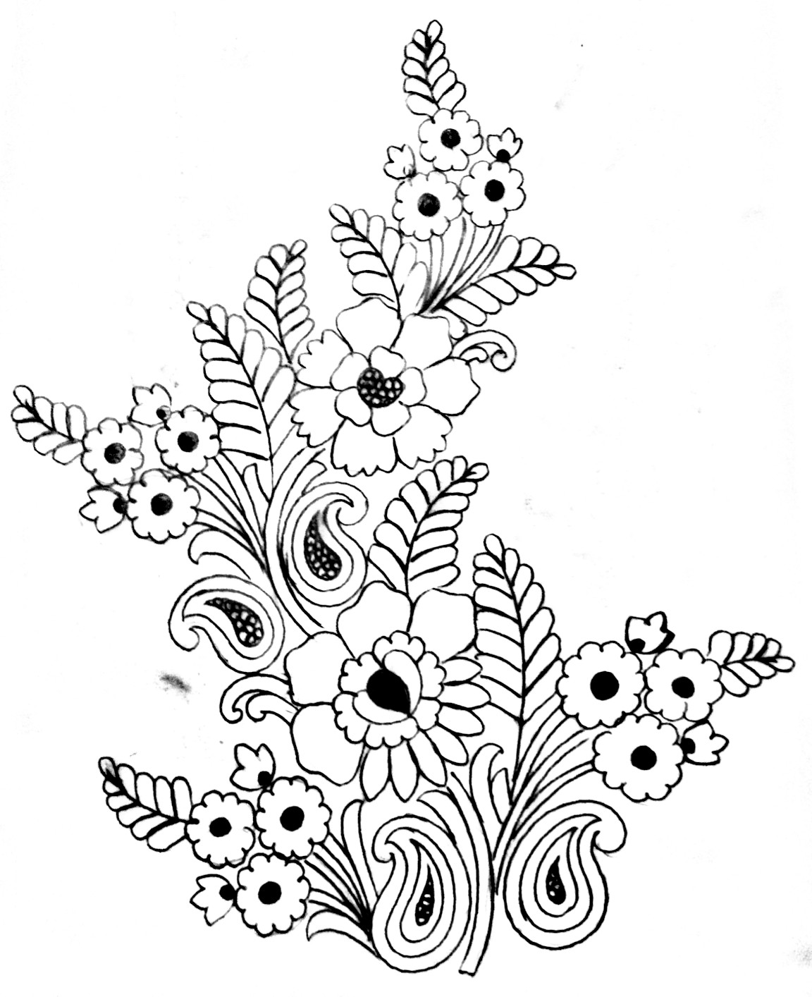 Free hand embroidery flowers design drawing. New embroidery design images free download for saree.