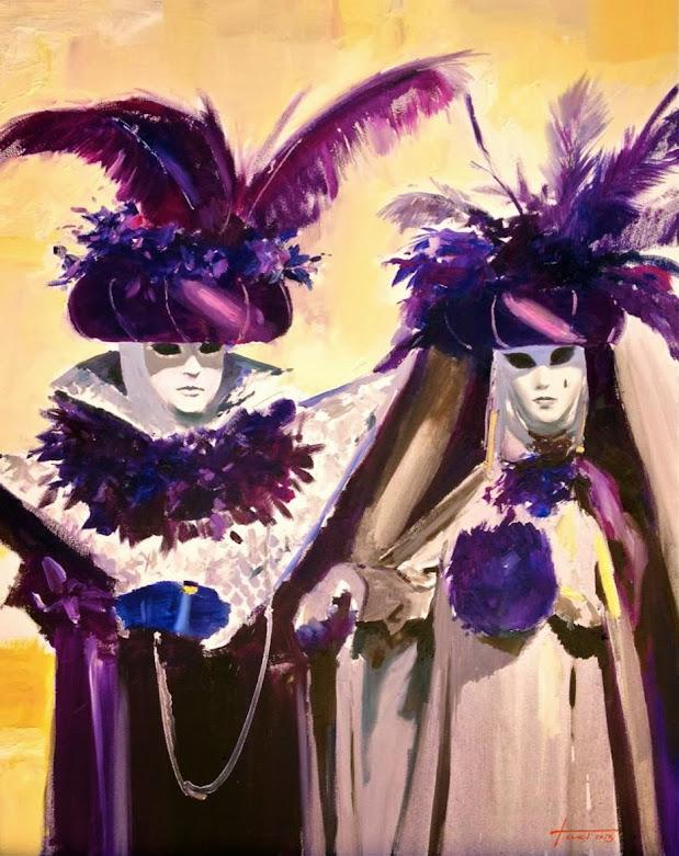 Pintura de Cristóbal Perez  Garcia, oleo Pareja en azules