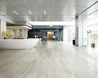 Luxurious hotel reception lobby area with lounge