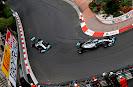 Nico Rosberg and Lewis Hamilton racing their Mercedes W05