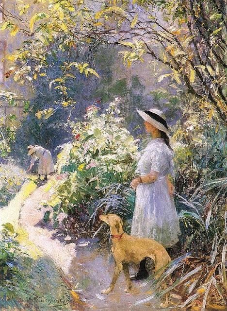 Evariste Carpentier - La jeune fille et le lévrier dans le jardin