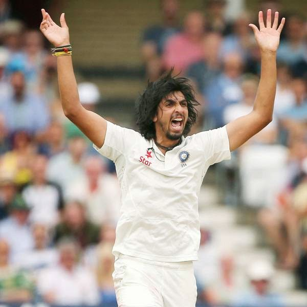 India's Ishant Sharma celebrates after taking the wicket of England's Gary Ballance during the third days play in the first cricket Test match between England and India at Trent Bridge in Nottingham, central England on July 11, 2014.