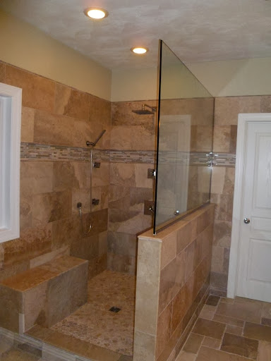Earth tone bathroom tiling project sea haggs hampton for Bathroom designs earth tones