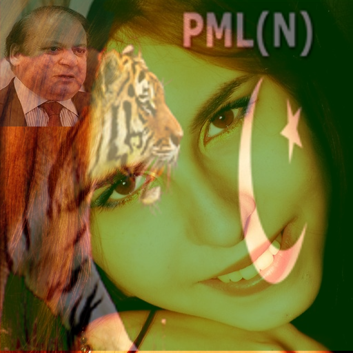 PMLN NAWAZ FACE FLAG : FREE DOWNLOAD