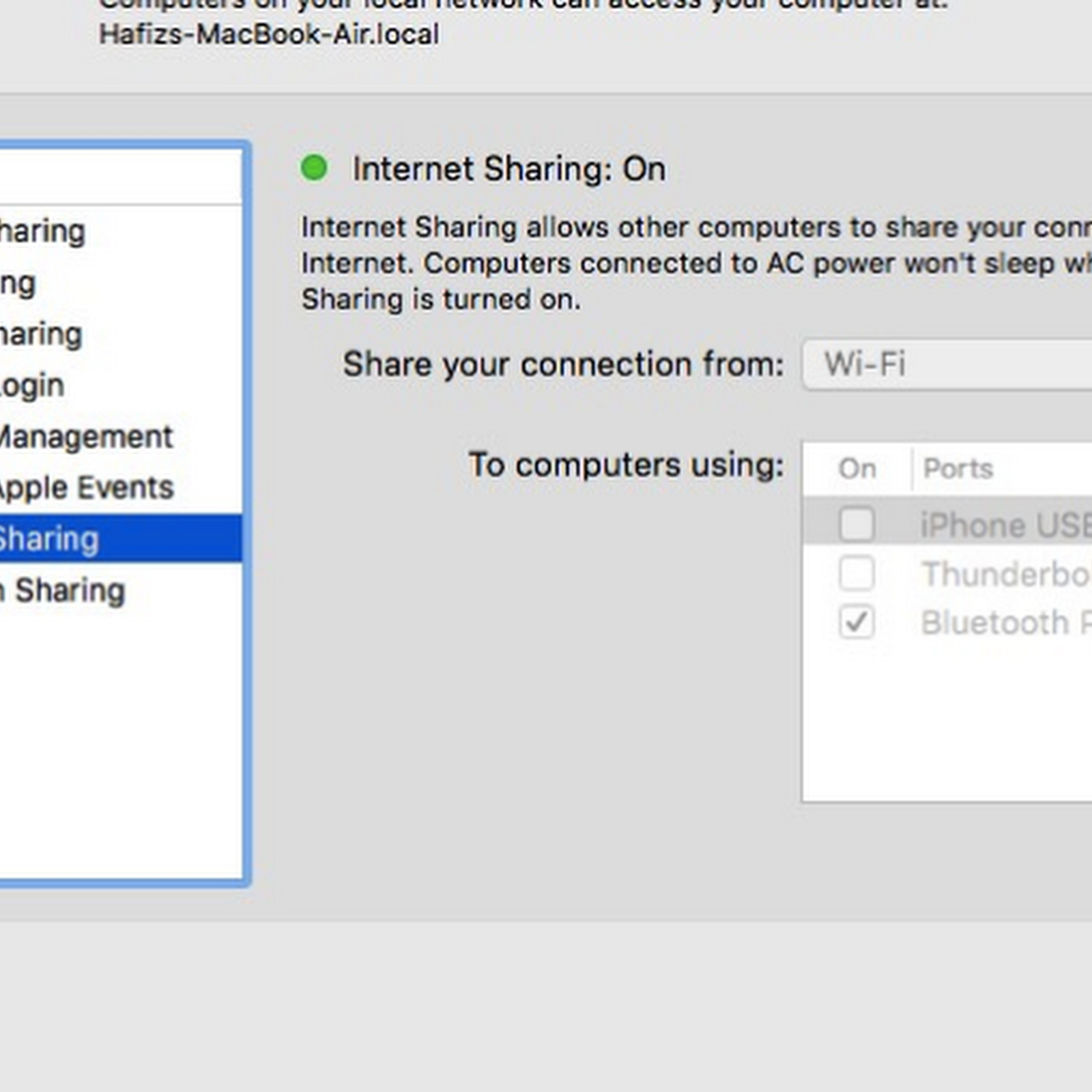 How to create hotspot on your mac book and share your wifi via bluetooh PAN.