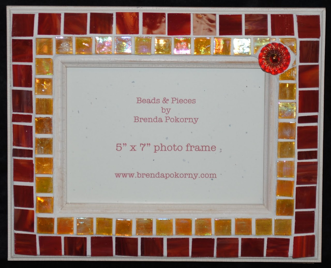 "Vintage Crimson & Amber 5"" x 7"" Mosaic Photo Frame MOF1431"