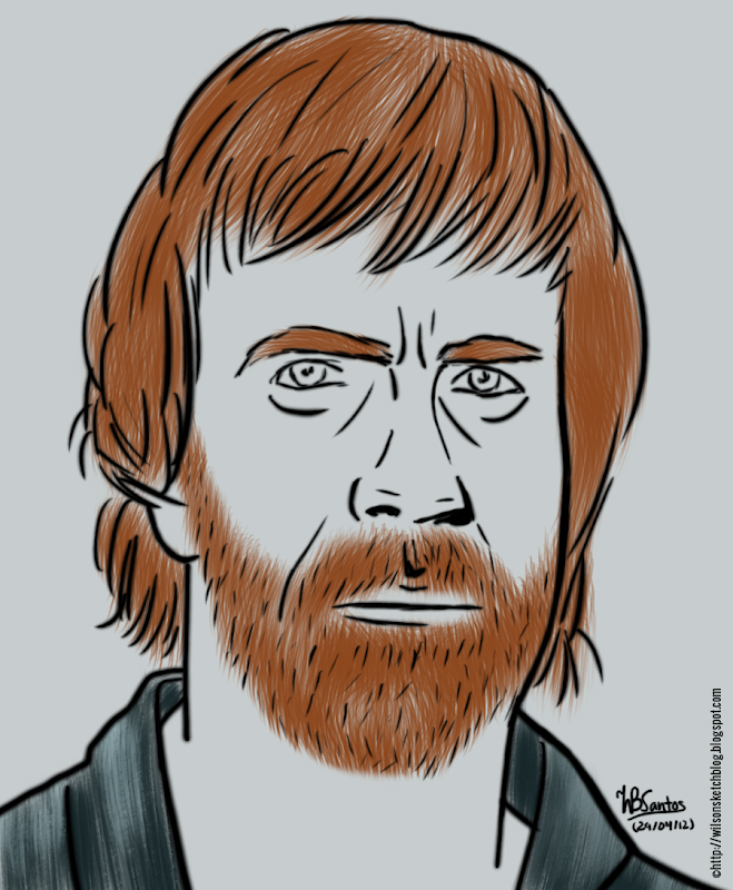 Chuck Norris sketch, using GIMP Paint Studio.