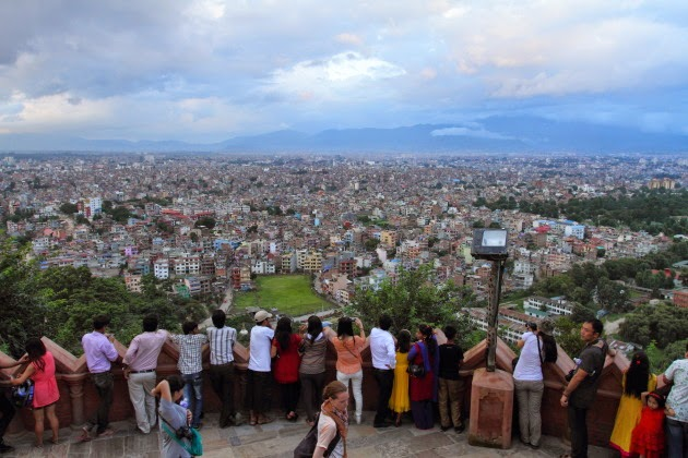 Admiring the Kathmandu valley view from Swayambhunath Temple