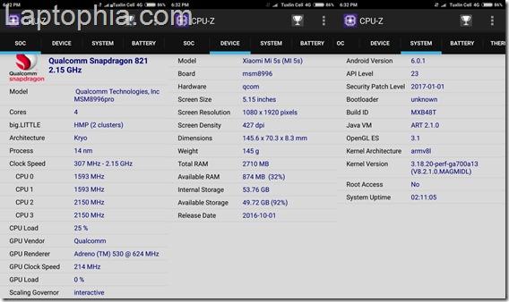 CPU-Z Xiaomi Mi 5S