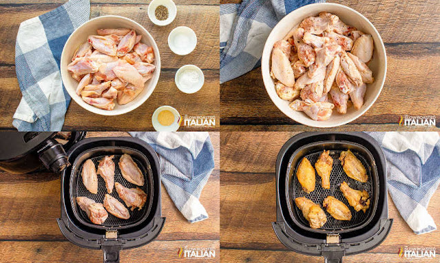 photo collage: wings in bowl with ingredients, in air fryer and cooked