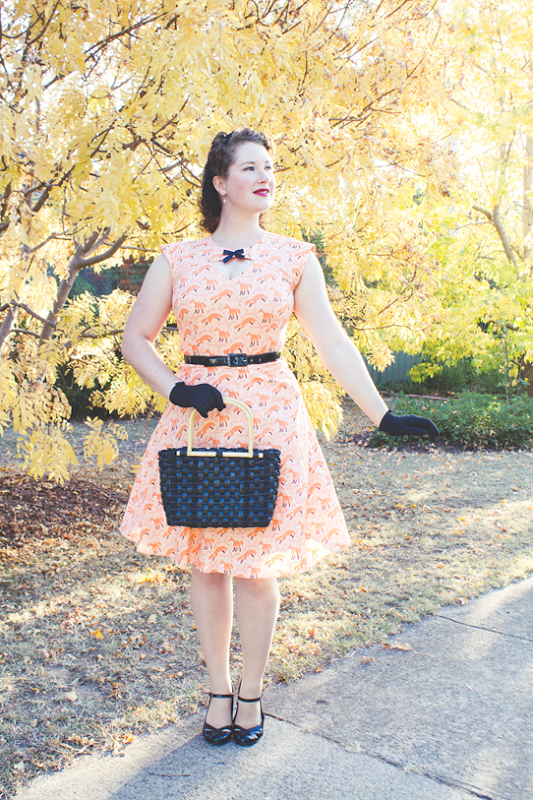 "Bernie Dexter ""Foxy Pinup Dress"" in Peach Fox Print 