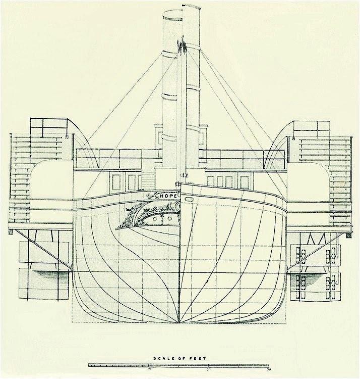 Vista de proa y popa de las lineas de agua del HOPE. De la web National Museums of Liverpool.tif