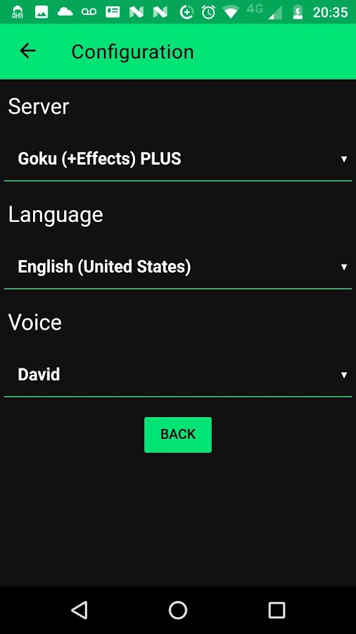 Screenshots of Narrator's voice for iPhone