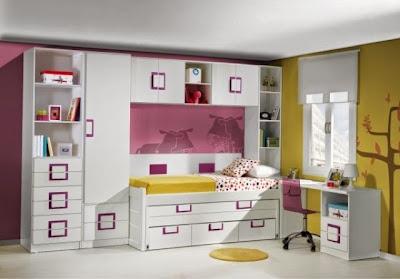 habitación juvenil lacada blanca con cama compacta,puente y mesa estudio