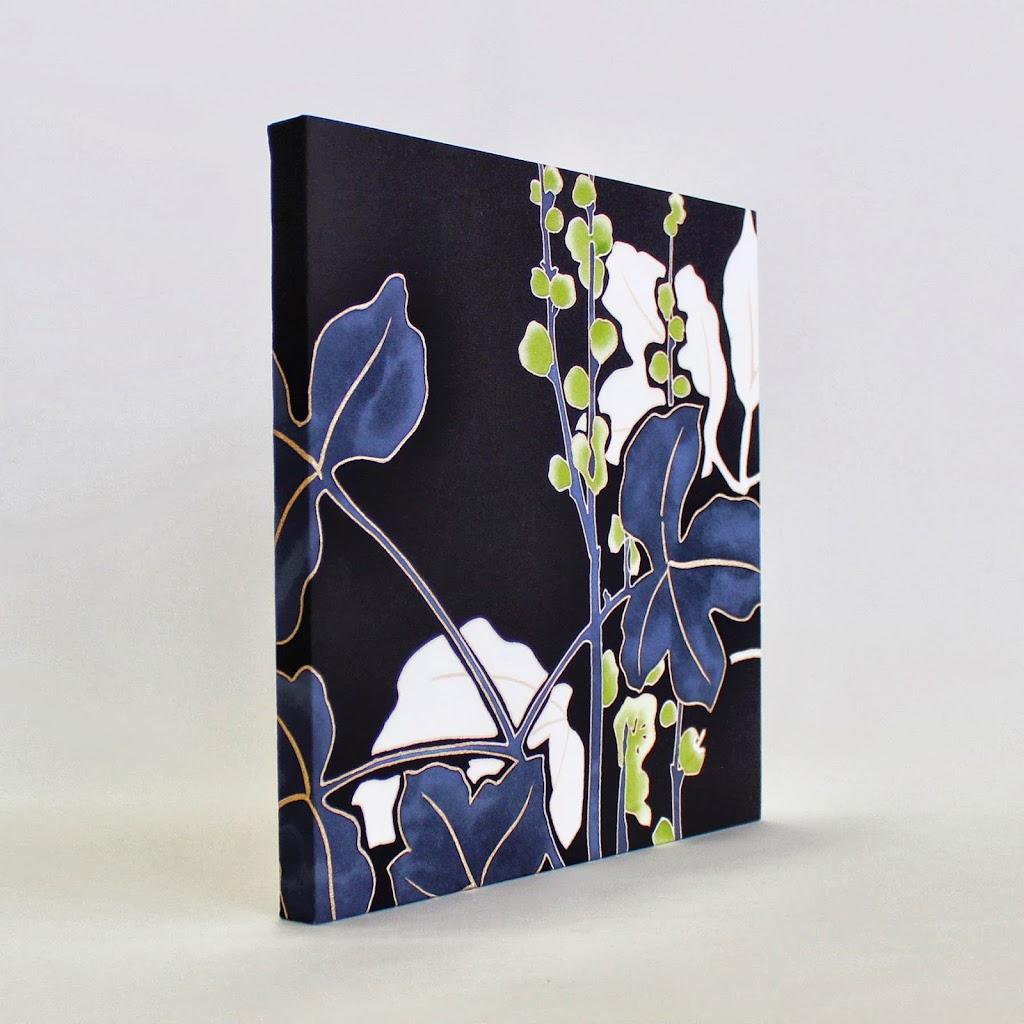 Hand-Painted Kimono Silk Panel - Shoma (black)