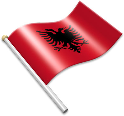The Albanian flag on a flagpole clipart image
