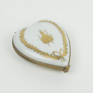 Limoges Porcelain Bee Heart Trinket Box